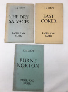 3 x T S Eliot The Dry Salvages, East Coker & Burnt Norton Faber 1941-1943