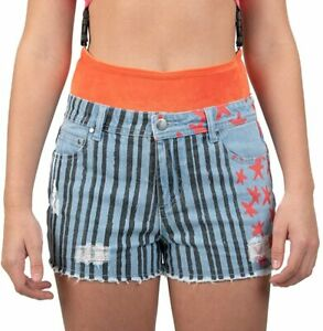 Birds Of Prey Juniors Harley Quinn Stars and Stripes Frayed Denim Shorts