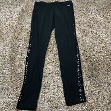 Victorias secret pink small black leggings sweatpants black sequin sides