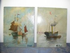 Two small paintings on wood panels.