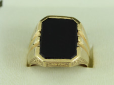 Onyx Signet Pinky Ring 14K Gold Size O 1/2 585 11.8g Et49