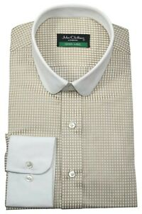 Penny Round Baby Collar Men Cream Checks Peaky Blinders Club Tommy Shelby Shirt