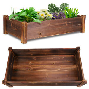 "Solid Wood Raised Bed 26"" Planter Plant Pot Box Patio Backyard Garden Veg Flower"