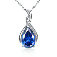 "925 Sterling Silver Lab Blue Sapphire Gemstone Pendant Necklace 18"" Chain"