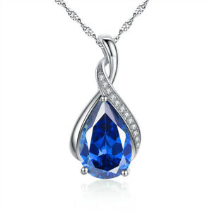 925 Sterling Silver Lab Blue Sapphire Gemstone Pendant Necklace Gifts for Women
