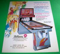 Casino Arcade FLYER United 1978 Original NOS Shuffle Alley Game Artwork Sheet