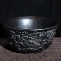 Collect noble Decor Exquisite Natural Ebony wood carved pine tree crane bowl