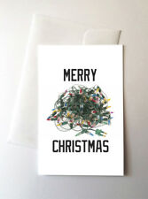2 Pack - Tangled Tree Lights Merry Christmas Greeting Cards Meme Memes Funny