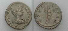 Roman Argento Denarius Coin Geta come Cesare, Nobilitas Holding Scettro & Palladio