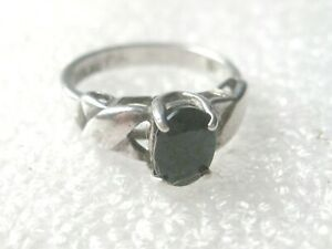 Vintage Sterling Black Spinel Ring, X-Accents on Band, Sz. 5.25, Appx. 1CT