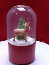 Christmas Reindeer Deer with Christmas tree Snow Globe musical red base