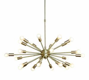 Mid Century Modern Brushed Brass Sputnik Chandelier Light Fitting 24 Arms Bulbs