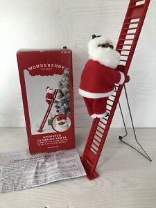 Wondershop Animated Climbing Black Santa Claus Ladder Christmas Decor-battery
