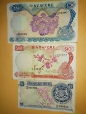 Singapore Orchid $50, $10 and $1 note