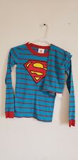 Hanna Andersson Boys Superman Blue Stripe Pajamas Long Johns 140cm