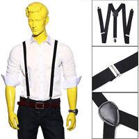 New Adjustable Slim Unisex Men Ladies Trouser Braces Suspenders Clip On Black MT