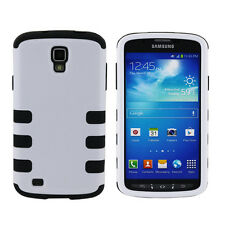 For Samsung Galaxy S4 ACTIVE I537 I9295 White/Black Hybrid Silicone Case Cover