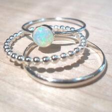 Women Simple Fashion 3 Pcs/Set Female Engagement Silver Opal Jewelry Rings