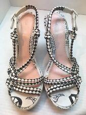 JOHN GALLIANO Newspaper Gossip Black/White Braided Leather Wedge Sandals size 39