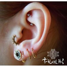 Brass Gold Colour Tragus Lotus Ring, Conch Jewelry Snug Ring (code 1)