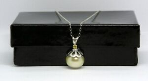 11 mm Golden Yellow South Sea Pearl Necklace, 2.5 mm Yellow Sapphire, 9.37 Cts.