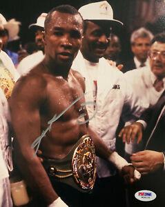 Sugar Ray Leonard Signed 8x10 Boxing Photo Belts PSA DNA COA