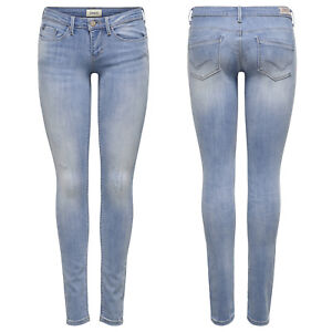 ONLY Damen Hüft Jeans Hose onlCORAL LIFE SL SK CRE185063 Superlow Skinny hell