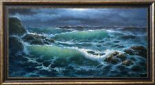 """EXTRA LARGE SEASCAPE """"ROCKY COAST IN MOONLIT NIGHT"""" LISTED ARTIST OIL ON CANVAS"""