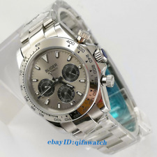 39mm bliger gray dial week date multifunction automatic mens wrist watch 2927