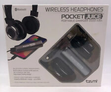 Tzumi Wireless Headphones Pocket Juice Portable Charger 2000 mAh - Black