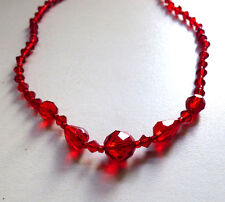 Vintage Art Deco 1920s / 30s Czech Facetted Glass Bead Necklace Red