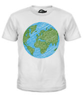 SCRIBBLED EARTH KIDS T-SHIRT TEE TOP GIFT PEACE PLANET