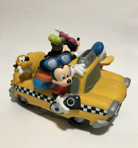 Disney Mickey Mouse & Friends Coin Piggy Bank Taxi Cab Fab 5 Five Yellow Car