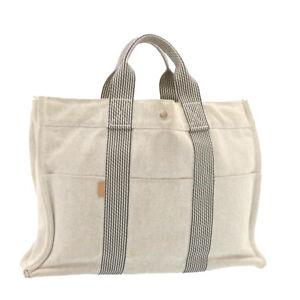 HERMES Fourre Tout MM Hand Bag Canvas Gray Auth ar4592