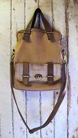 BAG Fossil Beige Brown LEATHER Top handle Shoulder Cross body Handbag Vintage