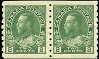 1922 Mint NH Canada Pair 2c F-VF Scott #128 Admiral KGV Coil Stamps