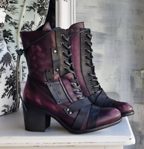 Womens Retro Pu Leather Straps Ankle Boots Lace-Up Chunky High Heels Block