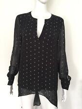 New CATHERINE MALANDRINO Women's Sheer LIVY Black/Silver  Blouse size S