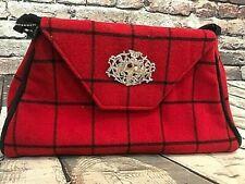 Bosom Buddy Bags Handbag Clutch w Strap, Red Plaid, Silver Emblem