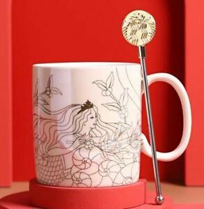 Starbucks Mermaid Coffee Mug with Stirring Stick Milk Cup White Color w/Gift Box