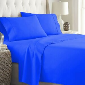 100% Cotton Glamorous Egyptian Blue Sheet Collection Solid Select Item & Size