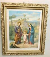 """Ornate Antique Vintage Gold Gilt Picture Frame Jesus Print 20.5""""× 17.5"""""""