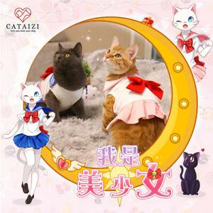 Sailor Moon Pet Animals Cat Dog Clothes Bow Cute Dress Pink Costume Full Set