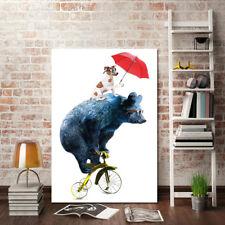Óleo Pintura ALTB bicicleta Oso y Perro de Dibujos Animados Hogar de Decoración