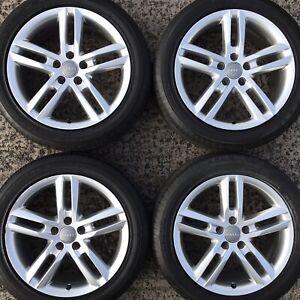 "Set 4 Genuine Audi A6 18"" Alloy Wheels SLine 245 45 Tyres 5 10 Spoke 4G0601025BL"
