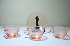 Pink Depression Glass Normandie Three Cups and One Saucer
