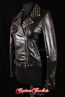 Ladies ROCKSTAR Black SILVER STUDDED Rock Chick Girl Biker Real Leather Jacket