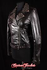 Ladies SILVER STUDDED Leather Jacket ROCK-STAR Chick Girl Biker Bikers Jacket