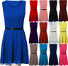 Skater Dress SleeveLess Tailored Belted Dresses Short Party Sexy Womens Ladies