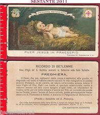 3245 SANTINO HOLY CARD PUER JESUS IN PRAESEPIO BETLEMME GESù BAMBINO NATIVITà